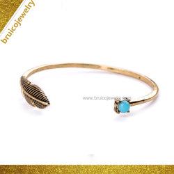 Moda Bracelete Aberto artesanais ródio Feather Bangle Preta Vintage jóias de prata com a turquesa