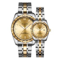 Wlisth Luxury Fashion Waterproof para homem relógio de quartzo com dois pares em aço inoxidável