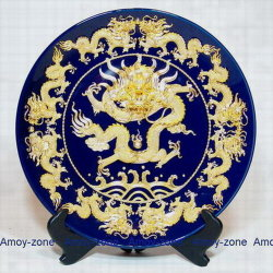 Lacquerwareの金メッキ9のドラゴンの青い皿の版の皿(TSP-12B)