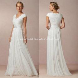 Шифон империи назад молнией A-Line устраивающих свадебные платья B-8