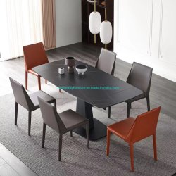 Pedra sinterizado mesa de jantar com estrutura metálica com pintura preta Cerâmica mesa de jantar Top 12mm