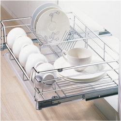 Armário de cozinha Multi-funcional e boa qualidade Soft fechamento 4 lado Cesto para gavetas e placas cromadas para placas (K6PTJ007Q)