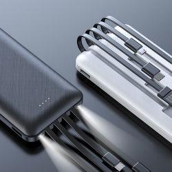 Kingmaster draagbare Power Bank 10000 mAh, 4 USB-kabels 10000 mAh mobiele oplader voor de Power Bank