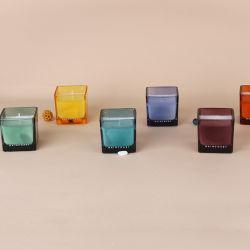 ガラスおよび簡単な設計されていたパッケージの顧客のロゴ着色され、設計されているとある1本の灯心が付いている小さい大豆のワックスの蝋燭受け入れられる