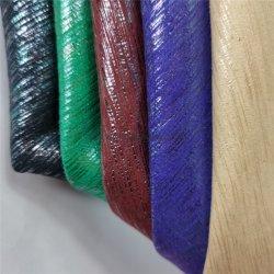 Prata dourada de microfibras de PU acabados de seda para tornar as sapatas de sacos de couro