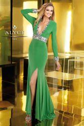 طويل كم [بروم] ثوب اللون الأخضر [شفّون] مثيرة [ف] عنق ينظم إطار [إفنينغ برتي] عباءة نساء