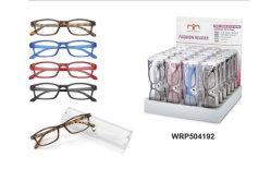 Groothandel Promotie Unisex Reader Eyewear Design Merk Custom flexibele scharnier Slanke plastic leesbril met display (WRP504192)