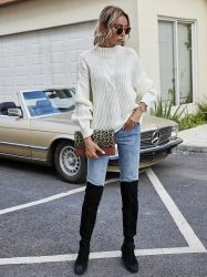 2021 Winter New Handmade Solid Color Sweater Design Lady Loose 스웨터