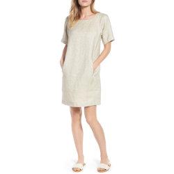 Écope cou lâche femmes détendue Eco robe de lin biologiques