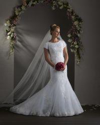 L'organza blanc Mermaid Appliques robe de mariée robes de mariée robe de mariée 2020 dentelle à manches courtes
