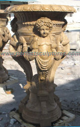 Сад декоративные резные каменные статуи сеялка мрамора резьба по старинной Flower Pot для использования вне помещений (QFP248)