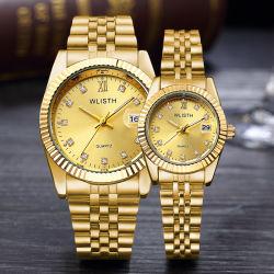 Wlisth Luxury Couple Relojes Oro logotipo personalizado fábrica al por mayor Reloj