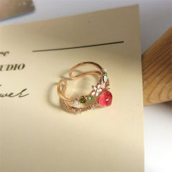 Form-koreanischer Art-Rosen-Goldöffnungs-Ring-Kristallharz-Rosa-Blumen-Inner-Ring für Frauen-weibliche Schmucksache-Geschenke