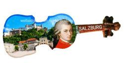 Violine Salzburg und Mozart-Harz-Kühlraum-Magnet