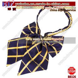 Pajarita Bowknot de poliéster de cuello Halter de tejido de la Prom Boda Bowtie pajarita de seda de Alimentación Escolar (B8326)