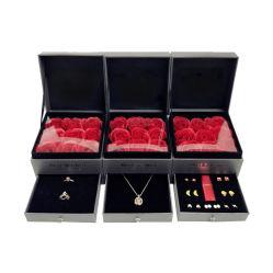 Cassetto di prima scelta degli orecchini dell'anello del rossetto della catena del contenitore di regalo della collana del doppio della copertura superiore della Rosa video contenitore di monili da 2.4 pollici