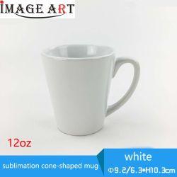 12oz передача тепла белого кружка Cone-Shaped сублимации красителей для нагрева нажмите клавишу