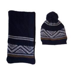 Les enfants d'hiver de façon chaleureuse tricot jacquard Hat foulard définie avec doublure polaire polaire