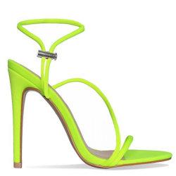 Pattini semplici delle donne di Lycra del sandalo dello stiletto degli alti talloni delle donne delle signore fluorescenti di estate