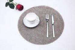 Anti-Slip 열 절연제 얼룩 저항하는 PVC에 의하여 길쌈되는 비닐 Foldable Placemat 테이블 매트, PVC 플라스틱 비닐 조롱 Placemat