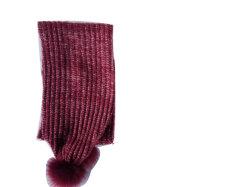 Gewellter Schal der Dame-Fashion Knitting Marl Look mit Faux-PelzPompoms bei zwei Enden