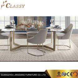 Qualidade Retângulo moderna mesa de jantar de vidro com armação de aço inoxidável