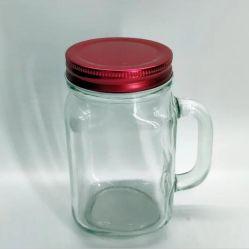 Commerce de gros clair 300ml 450ml 500ml 600ml en verre pot Mason boire Bougie en verre avec poignée de verre