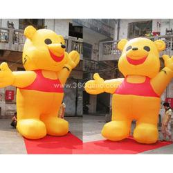 Campagna pubblicitaria diritta esterna personalizzata dell'orso giallo gonfiabile decorata con la mascotte gialla Ca105 dell'orso