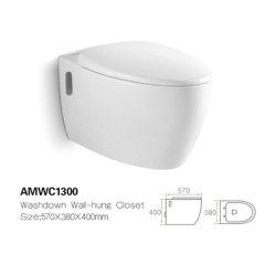 La stanza da bagno moderna di stile americano Amwc1300 Parete-Ha appeso la toletta di ceramica di bianco del Wc