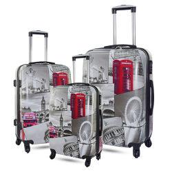 Form-Freizeit druckte fördernder reisender Soem-Druck-Koffer ABS/PC Laufkatze-Arbeitsweg-Spinner-Gepäck-harten Laufkatze-Kasten
