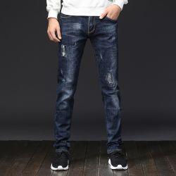 2019 Fashion мальчиков/Mens запаса Skinny Ripped Накапливавшегося Джинсовые брюки джинсы с заводская цена