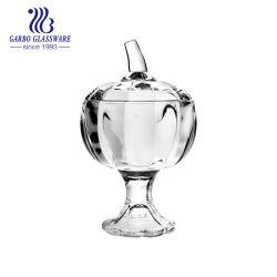 Forme de citrouille grand verre pieds Candy Fruit Jar bols avec couvercle en verre (GB1867ng)