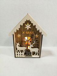LED-Schnee-Tagesweihnachtshölzerne Haus-Dekoration-Weihnachtsverzierung