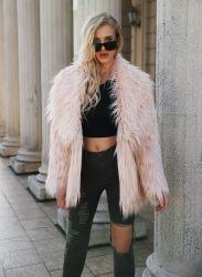 Simplee vêtements à manches longues femmes moelleux de la fausse fourrure manteau chaud