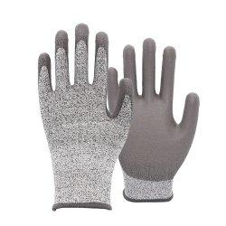 PUによって塗られるHppeはさみ金の反切断によって切られる抵抗力がある編まれた安全防護手袋