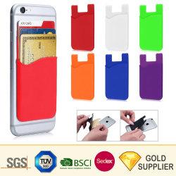 Personalizados baratos de caucho de silicona adhesivo 3m de la tarjeta de teléfono inteligente Pocket Monedero de caja de accesorios de telefonía móvil celular de silicio titular de la tarjeta de crédito de empresas Volver