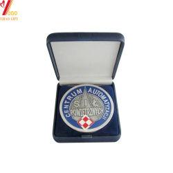 Custom синего бархата окно для медаль упаковки