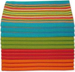 Кухонные полотенца тарелки сальса полоса - 100% натуральные абсорбирующий хлопок (размер 28 X 16 дюймов) Праздничный красный, оранжевый, зеленый и синий