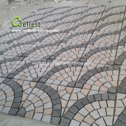 組合せカラー花こう岩のファンによって形づけられる敷石、自然な石造りパターンカーペット