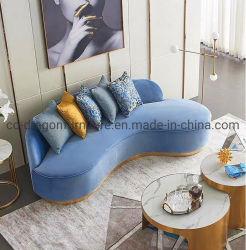 La salle de séjour en or rose basé en acier inoxydable de velours canapé créatif ensemble canapé de loisirs de tissu solide pour mobilier de maison à ossature de bois