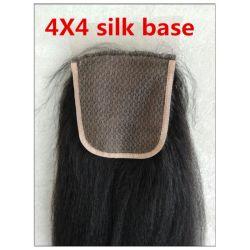 Venda por grosso de grau superior da base de seda Encerramento, brasileiro de cabelo humano Corpo Wave/Sedoso Onda Reta 4X4 Fecho de seda
