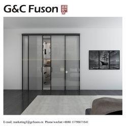 2019 Hot Vender Foshan fábrica de vidro temperado duplo moldura fina portas corrediças de alumínio