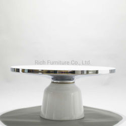 緩和されたガラスベース芸術のコーヒーテーブルの透過ガラス金鉄骨フレームの側面表の純粋な白