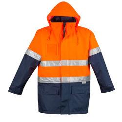 السلامة التأملية المقاومة للماء في الهواء الطلق معطف مطر قابل للتعديل السلامة العالية سترة WorkWear