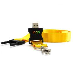 OEM van de Aandrijving van de pen 16GB de Nylon Douane USB van het Sleutelkoord van de Aandrijving van de Kabel USB