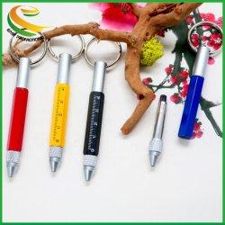 キーホルダー、多色刷り1つの執筆ペンの金属に付き6つが付いているやしボールペン
