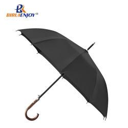 Nueva llegada de largo la lluvia paraguas mango de madera negocios Hombres Mujeres grandes paraguas Windproof 10 costillas Glass-Fiber Pongee 210t