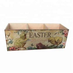 イースター机のホーム装飾のための鶏の印刷を用いる木の収納箱のイースターギフトの容器キャンデーの木箱