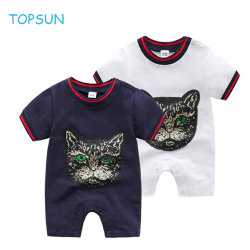 Säuglingskleinkind-Baby-Spielanzug-Sommer-Overall-Kurzschluss-Hülsen-Kleidung