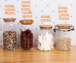 Jarra de vidrio de borosilicato con tapa de diferentes utensilios de cocina almacenamiento pueden